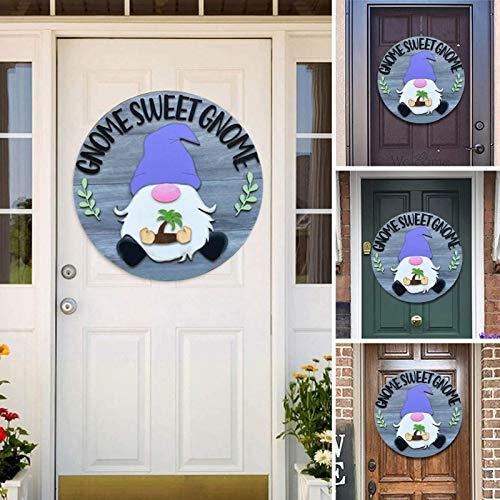 Pinkpaopao Creative Interchangeable Gnome Door Hanger Seasonal Welcome Sign Home Wall Hanging DIY Wood Patches Craft Front Door Porch Hanging Handmade Decorations(A)