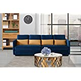 Classic Velvet Sofa, Convertible Couch (Navy)