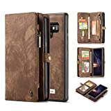 Galaxy Note 9 Wallet Case,AKHVRS Handmade Premium Cowhide Leather Wallet Case,Zipper Wallet Case [Magnetic Closure]Detachable Magnetic Case & Card Slots for Samsung Galaxy Note 9 - Brown