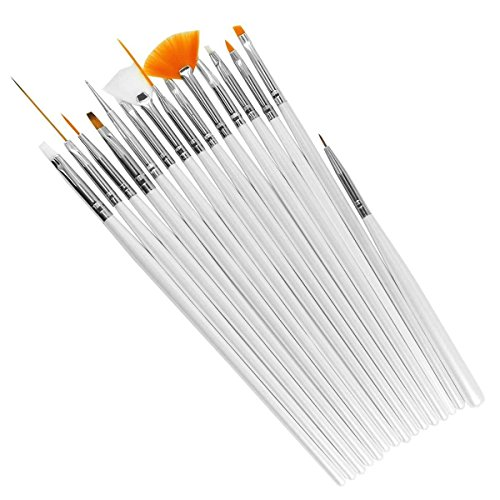 15 Pcs Nail Art Design Painting Polish Brushes Dotting Drawing Pen Manicure Pedicure DIY Tool Set White AOSTEK(TM) (Tm Nail Art Set)
