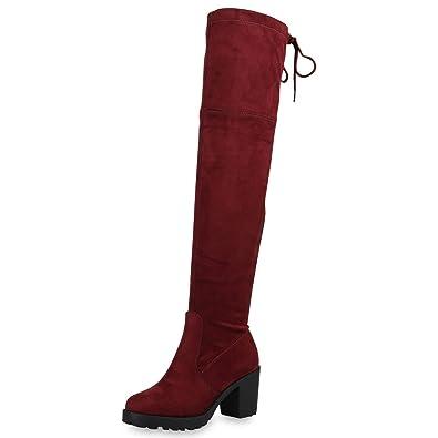 e5b695d70eb438 SCARPE VITA Damen Stiefel Overknees Langschaft Boots Blockabsatz High Heels  172598 Dunkelrot 36