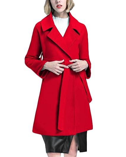 Yonglan Donna Inverno Cappotto In Misto Lana Lunghezza Media Cappotto Di  Cashmere Con Cintura Rosso M 69d4bf08f0a