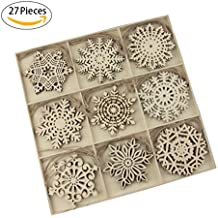 Wooden Models Shapes Christmas Tree Ornament-YuQi 27pcs Blanks Wooden Tree Sets Embellishments with Natural Twine Kits for Kids(Snowflake 9)