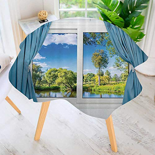 Philiphome Round Tables in Washable Polyester-Rural from The Window Reflecti in Water Lake River Tree in Summertime Tablecloth –Ideal for Home, Restaurants, Cafés 55