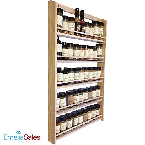 EmejiaSales Oak Spice Rack Wall Mount Organizer 5 Tier, Solid Oak Wood With Natural Finish, Seasoning Storage for Pantry and Kitchen - Holds 45 Herb Jars