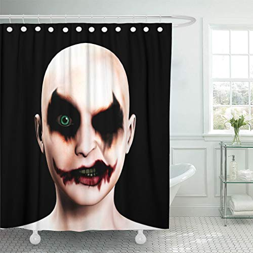 Emvency Fabric Shower Curtain with Hooks Scary Evil Psychotic Female Clown Halloween Face Joker Psychopath Circus Eyes Nose 60
