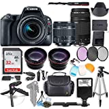 Canon EOS Rebel SL2 DSLR Camera with Canon 18-55mm STM & Canon 75-300mm III Lens Kit + 0.43x Wide Angle Lens + 2X Telephoto Lens + 32GB SD Card + HD Filter Kit + Flash Diffusers + Accessory Bundle