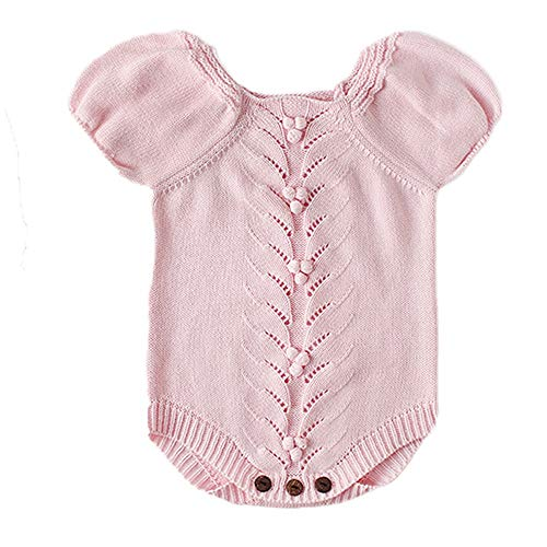 NUWFOR Newborn Baby Girls Boys Knitted Toddler Puff Sleeves Jumpsuit Clothes Outfits(Pink,6-9 Months) by NUWFOR (Image #7)