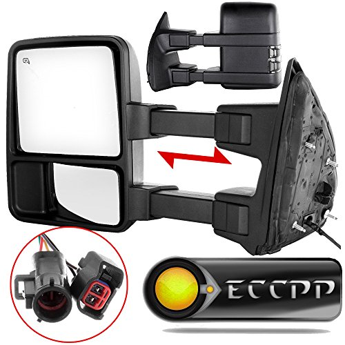 - Towing Mirror by ECCPP Pair Side Mirror Replacement for 1999-2002 Ford F250 F350 F450 F550 Super Duty with Power Heated Telescopic Manual-Folding - Texture Black