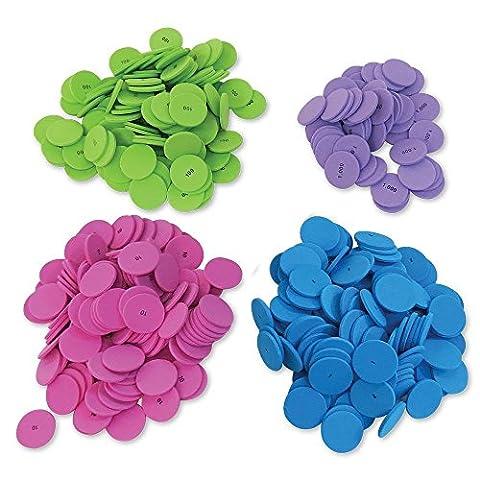 ETA hand2mind Place Value Foam Disks in 4 Values, Set of 200 - Algebra Tiles Student Set