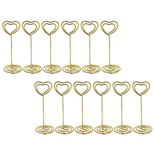House Shaped Business Card (Bememo Gold Heart Shape Photo Holder Stands Table Number Holders Place Card Paper Menu Clips for Weddings, 12 Pack)