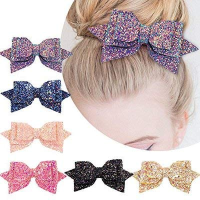 6PCS 5 Inch Glitter Hiar Bows for Baby Girls Multicolor Bling Party Boutique Bownot BeiJia Hairgtips Sequin Bow Alligator Clip Women (6 - Sequins 5 Inch