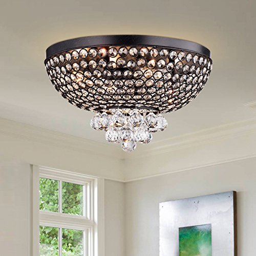 Warehouse of Tiffany 60 W Drimil Antique Bronze Crystal Flush Mount Ceiling Lamp - Crystal Dome Flush