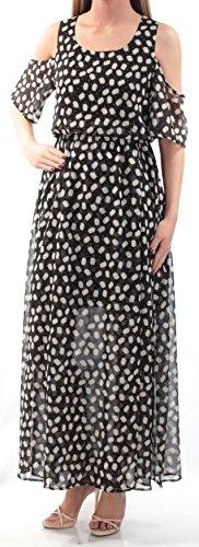 Cynthia Rowley Womens Sheer - Cynthia Rowley Womens Black Print Cold Shoulder Sheer Dress M