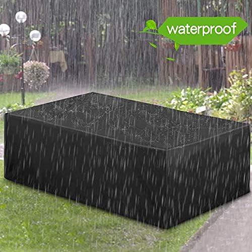Essort - Lona impermeable, muebles de jardín, tela protectora, tafetán 210T de poliéster, funda para muebles exteriores, protección para mesas y sillas de jardín, 200 × 160 × 70 cm, color negro: Amazon.es: Hogar