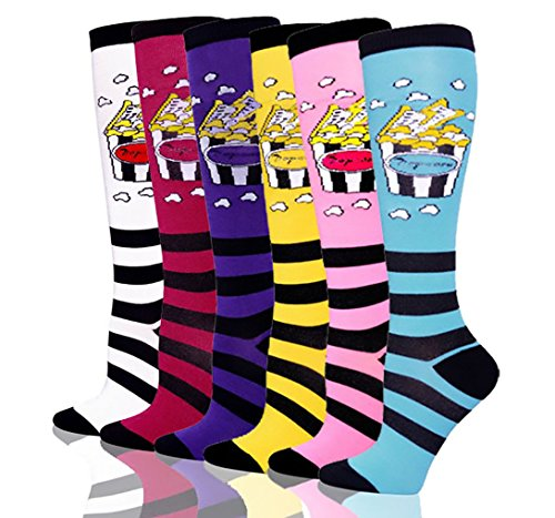 Women's Soft Knee High Socks,Casual, Fun, Multi Color Value 6 Pack ()