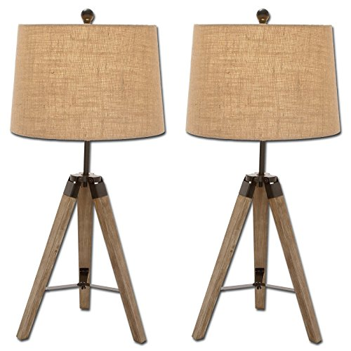 Superb Urban Designs Weathered Wooden Tripod Table Lamps (Set Of 2)
