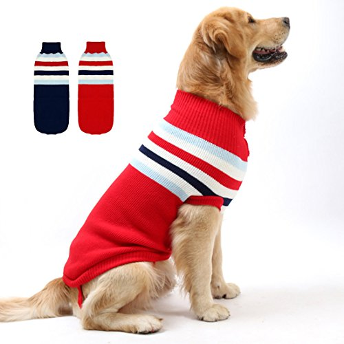 - GabeFish Fashion Small Medium Large Dog Striped Warm Knitted Sweater for Cold Weather Spring Winter Clothes Jumper Red 4X-Large