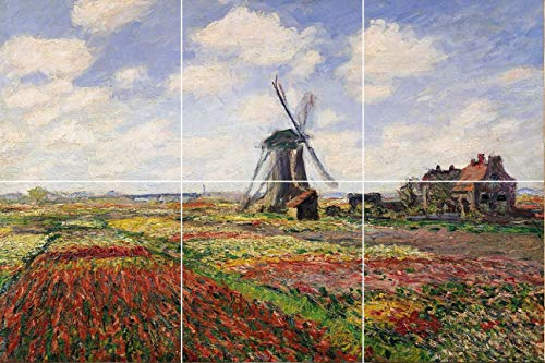 (Antique Painting Tulip Field rijnsburg Windmill Ceramic Tile Mural backsplash 12