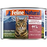 Canned Cat Food Feline Natural - Perfect Grain Free, Healthy, Hypoallergenic Limited Ingredients - BPA-Free Wet Cat Food - Nutrition All Cat Types - Chicken & Venison - 6oz (24pack)