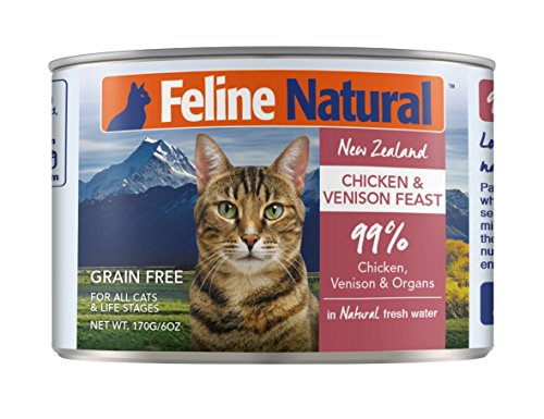 Canned Cat Food by Feline Natural – Perfect Grain Free, Healthy, Hypoallergenic Limited Ingredients – BPA-Free Wet Cat Food – Nutrition for All Cat Types – Chicken & Venison – 6oz (24pack)