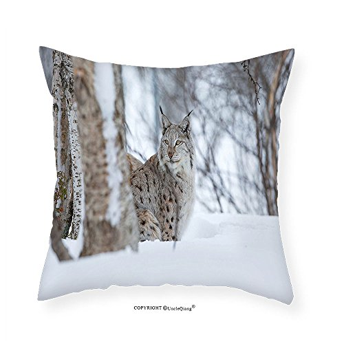 VROSELV Custom Cotton Linen Pillowcase Animal European Lynx Snowy Cold Forest Norway Nordic Country Wildlife Apex Predator for Bedroom Living Room Dorm Light Brown White - Denver Apex
