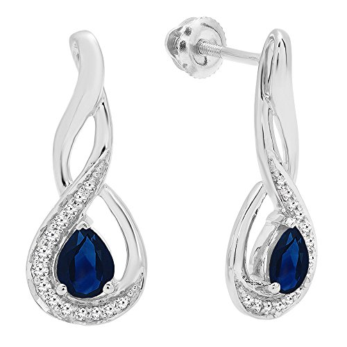 Dazzlingrock Collection 10K 5X4 MM Each Pear Cut Blue Sapphire & Round Cut Diamond Infinity Drop Earrings, White -