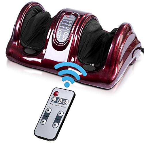 Giantex Foot Massager Machine Massage for Feet, Chronic Nerve Pain Therapy Spa Gift Deep Kneading Rolling Massage for Leg Calf Ankle, Electric Shiatsu Foot Massager w/ Remote, Burgundy