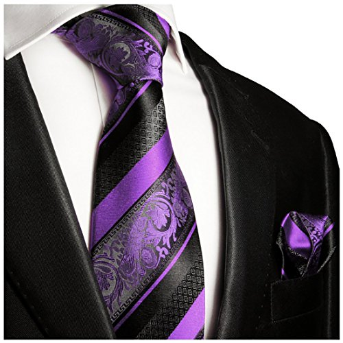 Purple and Black Silk Tie and Pocket Square . Paul Malone Red (Purple Mens Tie)