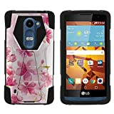 TurtleArmor   Compatible for LG Leon Case   LG Tribute 2 Case   LG Risio [Dynamic Shell] Hybrid Dual Layer Hard Shell Cover Kickstand Silicone Case - Flower 2