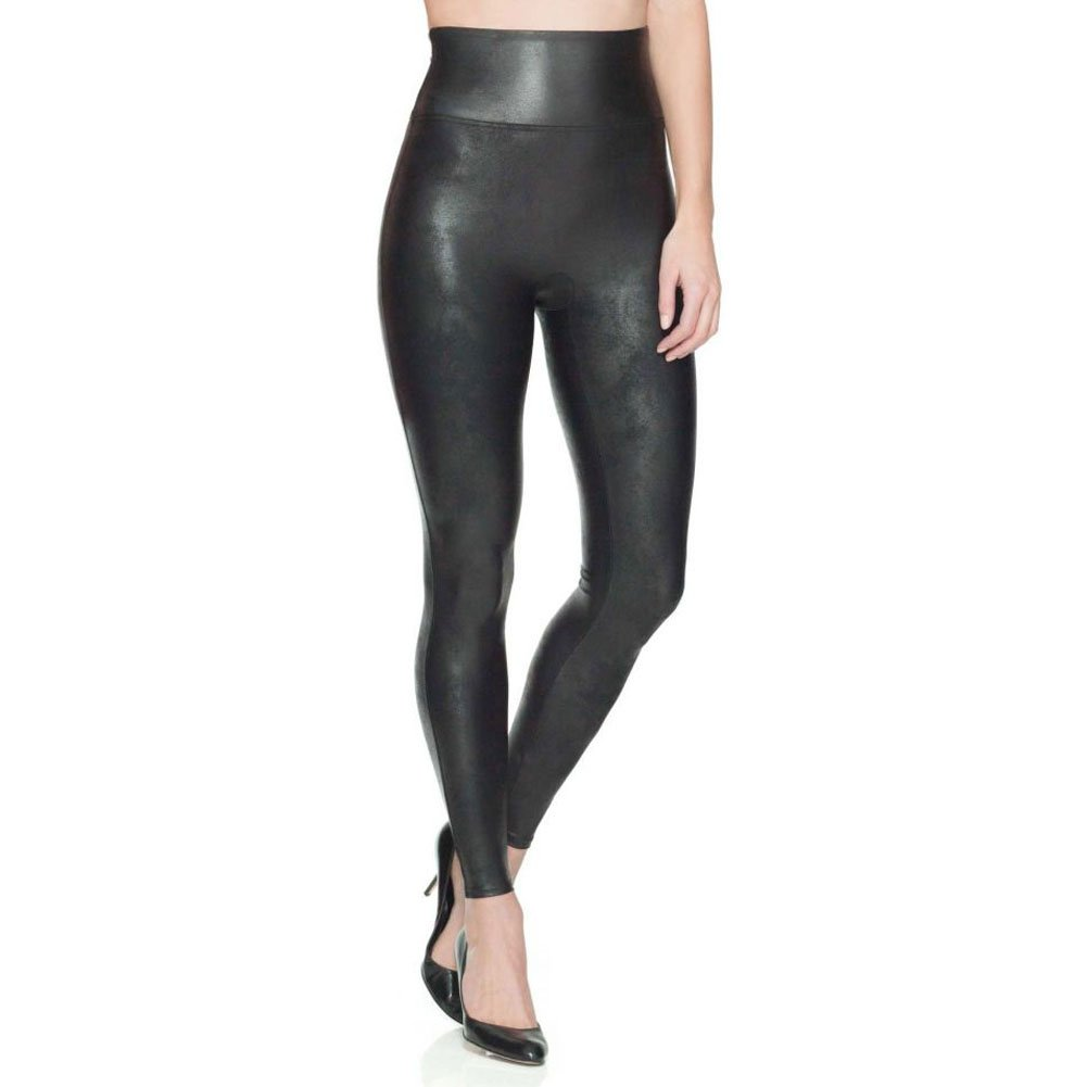 SPANX Women's Faux Leather Leggings, Black, Large