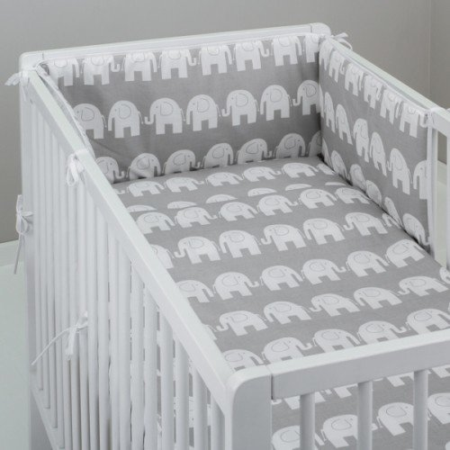 Fit to Cot Bed 140x70 cm, Safari Grey MillaLu 5 Pcs Baby Nursery Bedding Set fit to Cot 120x60cm or Cot Bed 140x70cm Padded Bumper