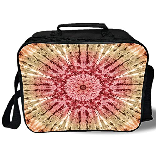 - Tie Dye Decor 3D Print Insulated Lunch Bag,Gradient Circle Batik Pattern with Spectral Pleats and Distressed Spots Image,for Work/School/Picnic,Red Brown
