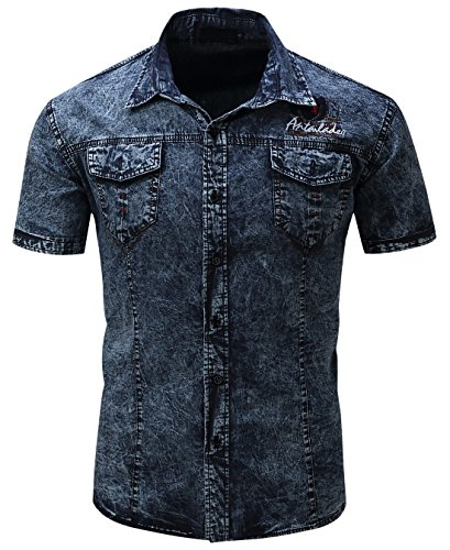 Denim Short Sleeve Work Shirt - chouyatou Men's Summer Short Sleeve Rugged Wear Chambray Cotton Denim Work Shirts (X-Large, Drak Blue)
