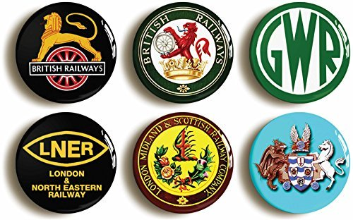 6-x-british-railways-retro-railroad-buttons-pins-lner-gwr-1inch-25mm-diameter