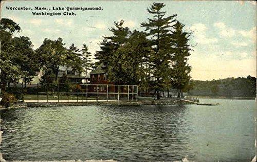 Lake Quinsigamond, Washington Club Worcester, Massachusetts Original Vintage Postcard (Worcester Massachusetts Antique)