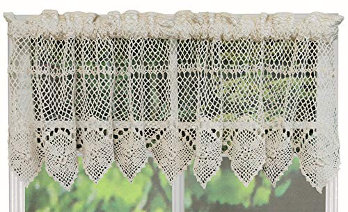 Creative Linens Cotton Crochet Lace Kitchen Curtain Valance Beige Handmade ()