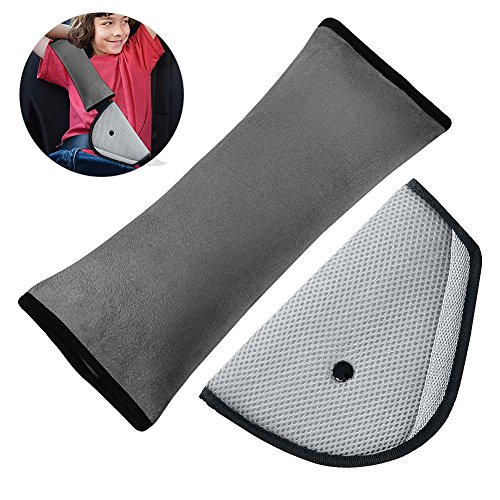 - Belt Strap Cover, Opamoo Car Seatbelt Pillow Seat Belt Cover for Kids Adjust Vehicle Shoulder Pads with Car Seat Belt Adjuster for Children Baby Adult Headrest Neck Support(Gray)