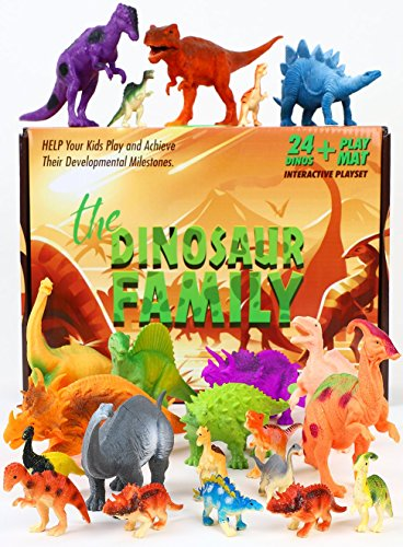Dinosaur Toys – Set 24 Pcs Plastic Assorted Action Figure Large & Mini - Triceratops TRex Stegosaurus & More dino. Kids Educational Gift For Realistic Party Supplies Age 3+ Year Old Boys Girls STEM