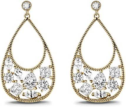 T400 Jewelers Water Drop Dangle Earrings with Cubic Zirconia Love Gift
