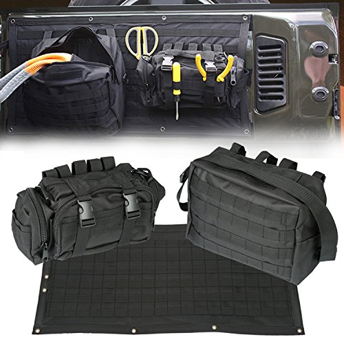 【Upgrade Version】Opall Tailgate Cover Multi-Pockets Storage & Tool Kit & Cargo Bag Saddlebag Organizer Pockets Waterproof Cargo Carrier for 2007- 2015 Jeep Wrangler JK 2 and 4-door models