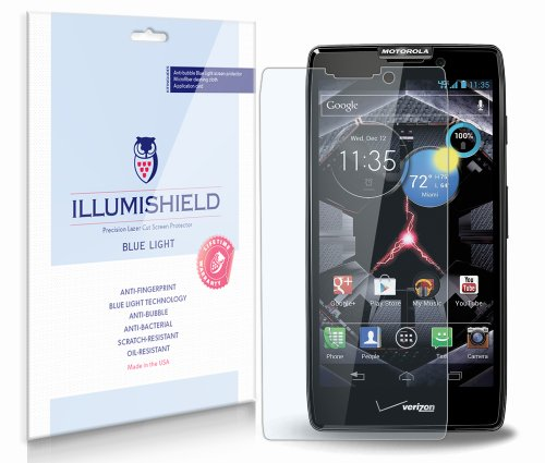 Motorola Droid RAZR MAXX Screen Protector [2-Pack], iLLumiShield - (HD) Blue Light UV Filter / Premium Clear Film / Anti-Fingerprint / Anti-Bubble Shield