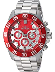 Invicta Mens Pro Diver Quartz Stainless Steel Casual Watch, Color:Silver-Toned (Model: 24722)