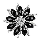 CHUYUN Cool Black White Rhinestone Big Flower Brooch Pin Fashion Winter Jewelry