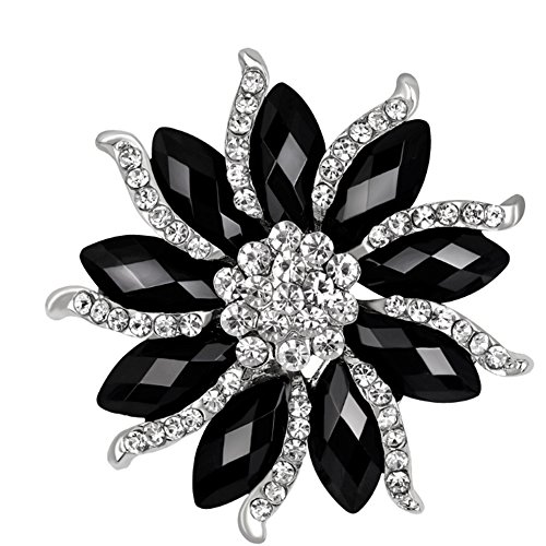 (CHUYUN Cool Black White Rhinestone Big Flower Brooch Pin Fashion Winter Jewelry)