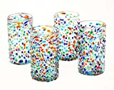 Set of 4, Mexican Recycled Ice Tea Glasses, Multi-Color Bumpy Confetti-22 ozs. Review