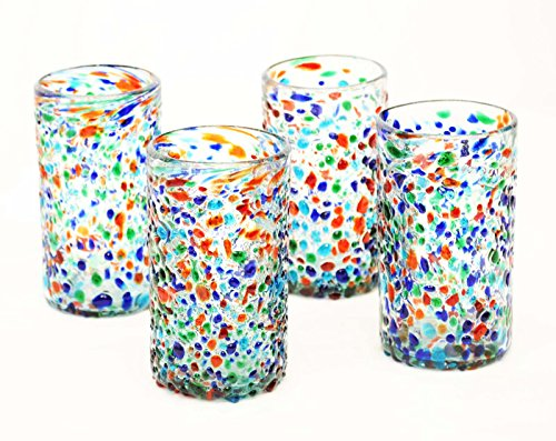 Set of 4, Mexican Recycled Ice Tea Glasses, Multi-Color Bumpy Confetti-22 ozs.