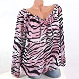 Farjing Womens Casual Long Sleeve Blue Stripe Button T-Shirts Irregular Tops Blouse(5XL,Pink)