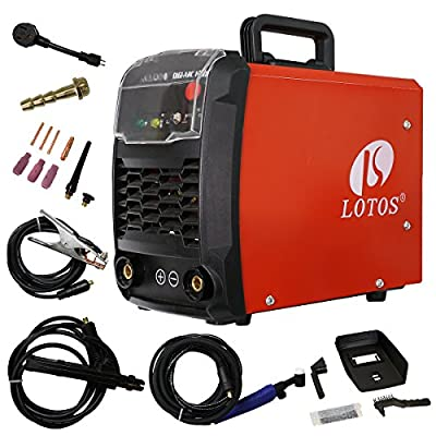 LOTOS Technology TIG140 140 Amp IGBT Stick/Lift Start DC TIG welder, Maximum 100amp Output under 110V, 140amp Output under 220V, Dual Voltage, Auto Adaptive Hot Start, Red