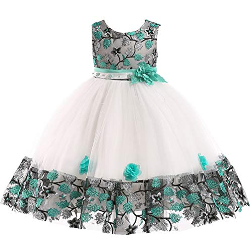 5T 6T Big Girl Spring Semi Formal Dresses Child Beaded Tiered Ruffle Tutu Floral Event Halloween Christening Baptism Ball Gown Girl Dress 5 6 Green -